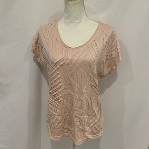 Chico's pink layered ripped look t shirt size 2